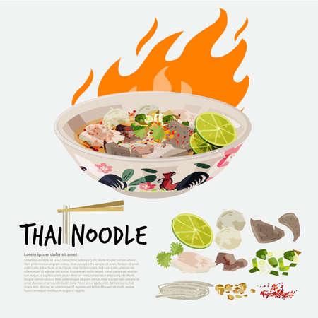 Illustration pour thai noodle in chicken Thai style bowl with ingredient graphic element - vector illustration - image libre de droit