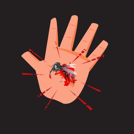 Ilustración de Dead mosquito in human hand with blood - Imagen libre de derechos