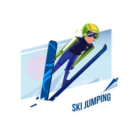 Illustration for Ski jumping, winter sport concept - vector illustration - Royalty Free Image