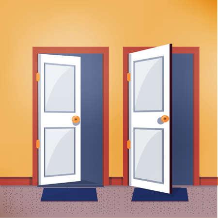 Illustration pour close and open door - vector illustration - image libre de droit