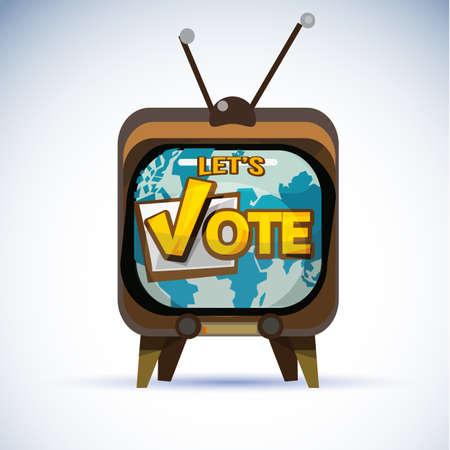 Illustration pour Television with Vote typographic. vote or popularity concept - vector illustraion - image libre de droit