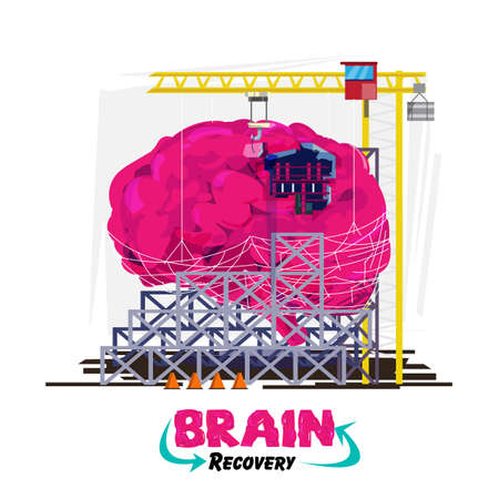 Illustration pour Recovery or healing your brain or  concept. Human brain with building crane in under construction area. come with logotype or typographic for header design - vector illustration - image libre de droit