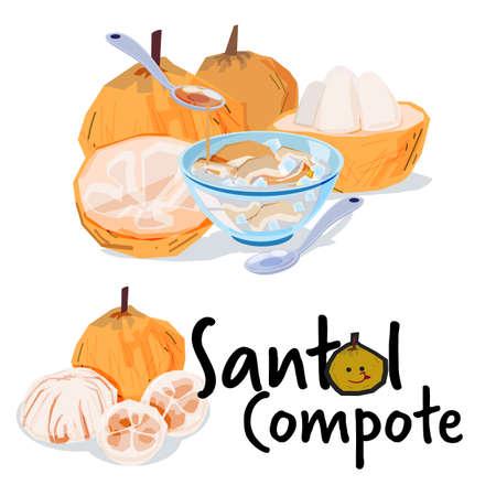 Ilustración de Santol Compote, Santol fruit. tropical fruit concept - vector illustration - Imagen libre de derechos
