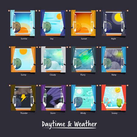 Ilustración de weather and daytime outside the window. weather icon concept - vector illustration - Imagen libre de derechos