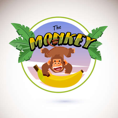 Illustration for Monkey logo hanging from typographic - Royalty Free Image