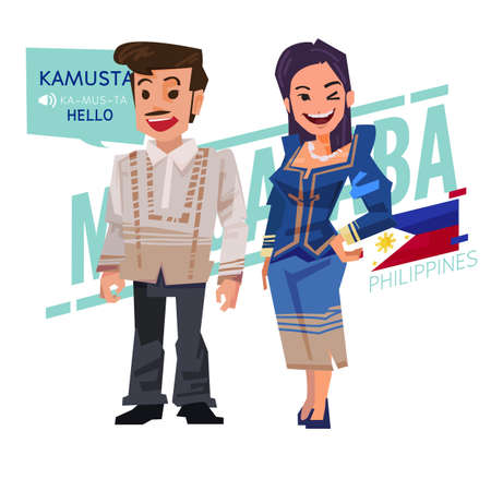Illustration for Filipino couple in traditional costume style. Philippines character design - vector illustration - Royalty Free Image