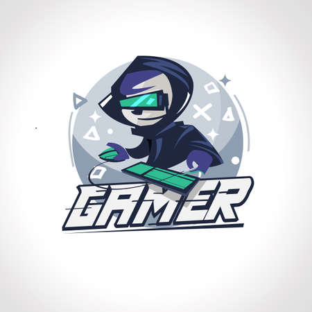 Illustration pour Gamer boy character design in actions. Gamer logo - vector illustration - image libre de droit
