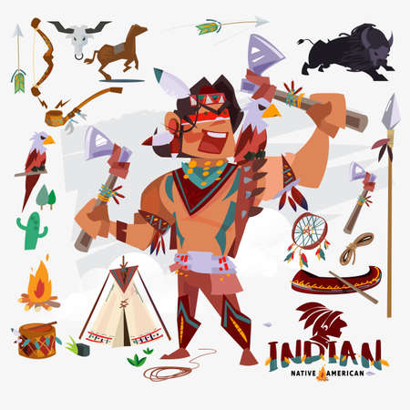 Illustration for Indian or native american with traditional costume, weapon, tools and other. character design - vector illustration - Royalty Free Image