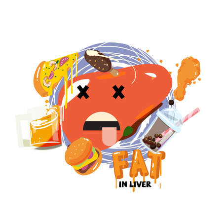 Illustrazione per Fat in liver concept - vector illustration - Immagini Royalty Free