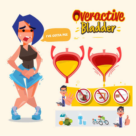 Illustration pour Overactive Bladder graphic information. Woman has pain in the genital area and Vaginal  - vector illustration - image libre de droit