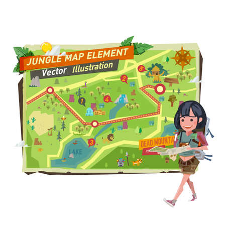 Illustration pour tourist girl with jungle map elements. tourist girl character walk and holding jungle map - vector illustration - image libre de droit