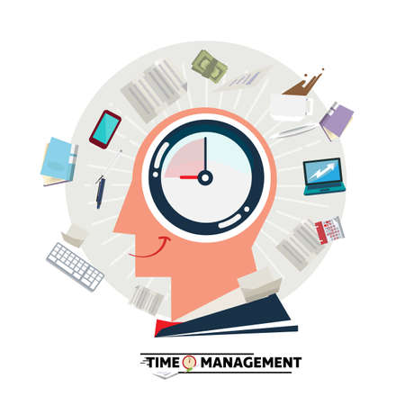 Ilustración de Businessman head with clock inside and blowing stationary and paper. Time management concept - vector illustration - Imagen libre de derechos