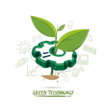 Illustration pour sapling with gear. green technology concept - vector illustration - image libre de droit