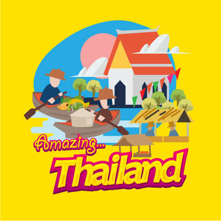 Photo pour floating market in Thailand  with typographic. landmark of Thailand - vector illustration - image libre de droit