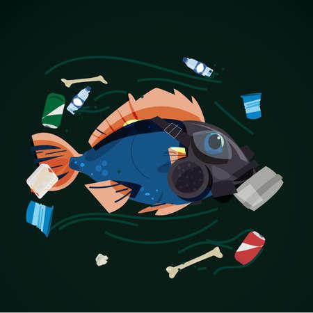 Ilustración de fish wearing gas mask swimming with full of garbage in the river  - vector illustration - Imagen libre de derechos