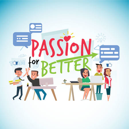 Illustration pour passion for work typographic with office people - vector illustration - image libre de droit
