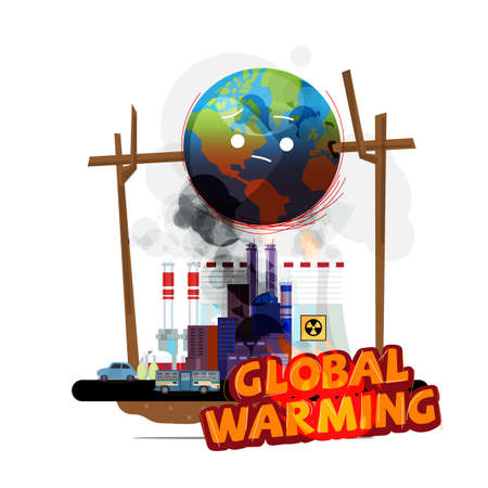 Ilustración de world globe on fire from earth factory and human. global warming concept - vector illustration - Imagen libre de derechos