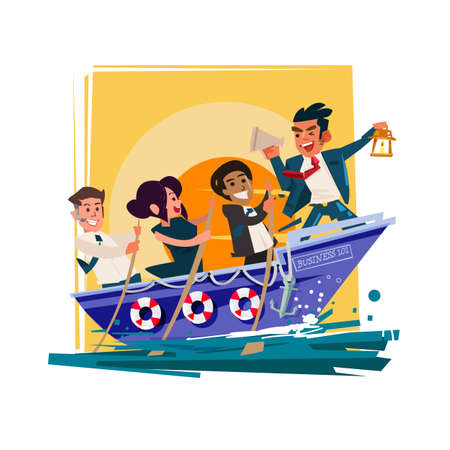 Illustration pour Businessman Boss Hold Megaphone  in the boat with team group try to going forward for successful, role-model or leadership for teamwork concept - vector illustration - image libre de droit