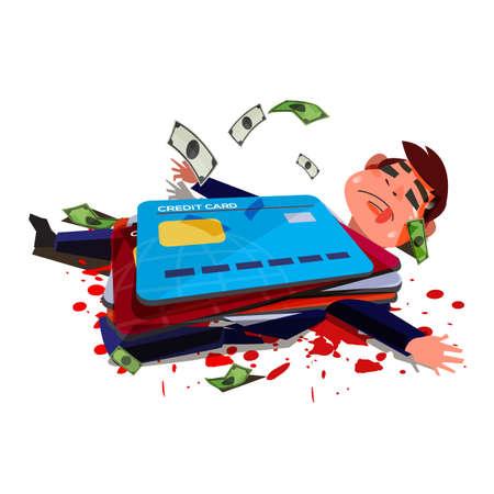 Illustration pour Credit card hitting over businessman. businessman die or injury because of credit card. Credit Card Debt When You Die  - vector illustration - image libre de droit