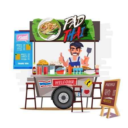 Illustration pour Pad Thai cart with merchant. Thailand food street concept - vector illustration - image libre de droit