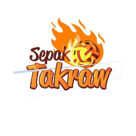 Ilustración de Sepak Takraw logo design with fire of power ball. logotype, typographic - vector illustration - Imagen libre de derechos