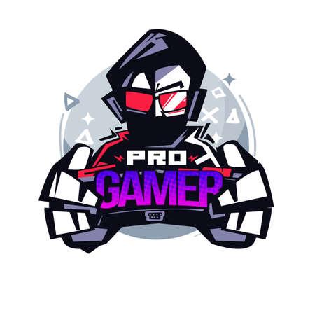 Illustrazione per Pro Gamer. Gamer logo - vector illustration - Immagini Royalty Free