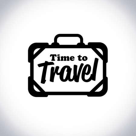 Illustration pour travel bag logo with text time to travel - vector illustration - image libre de droit