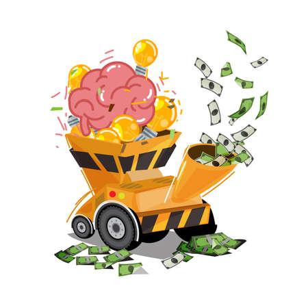 Ilustración de Human brain with light bulb of idea in chipper machine and output to money - vector illustration - Imagen libre de derechos