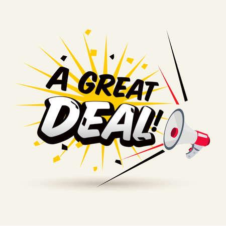 Ilustración de megaphone with A Great Deal typographic. promotion concept - vector illustration - Imagen libre de derechos