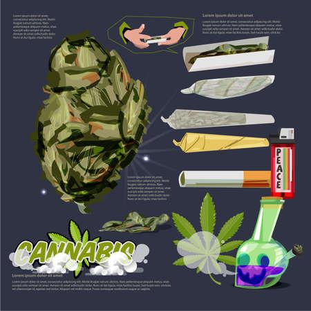 Ilustración de Cannabis or Marijuana Buds raw joint. bong infographic with logotype - vector illustration - Imagen libre de derechos