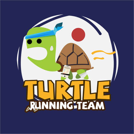 Ilustración de Running Turtle. slowly running with running gear - vector illustration - Imagen libre de derechos