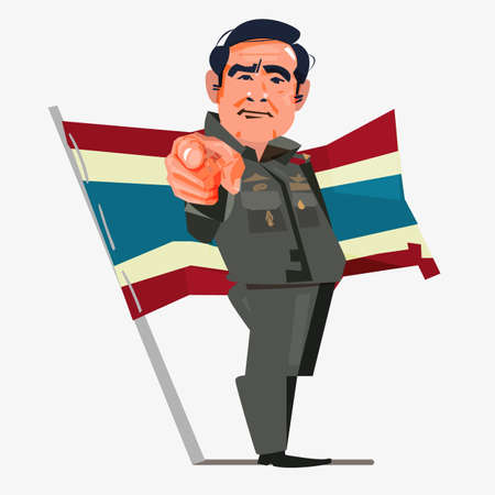 Illustration pour Prayuth Chan-ocha Prime Minister of Thailand. Bangkok, Thailand August, 2018. character design with flag - vector illustration - image libre de droit