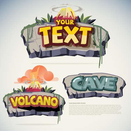 Illustration pour stone and volcano sign template. game sign concept - vector illustration - image libre de droit