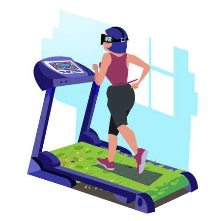 Ilustración de girl with vr headset running on tradmill of grass  - vector illustration - Imagen libre de derechos
