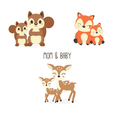 Illustration pour Cute mother and baby woodland animals. Foxes,Deer,Squirrels cartoon. - image libre de droit