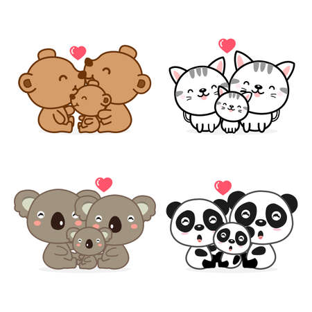 Illustrazione per cute Animal Family Father Mother and baby. - Immagini Royalty Free
