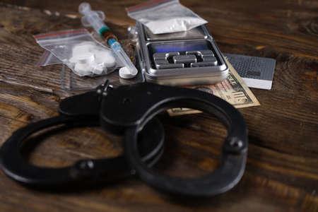 Foto de Drug use deprives a person of freedom. Concept against drugs. Copy space. - Imagen libre de derechos