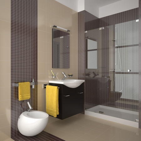 modern bathroom with beige tiles