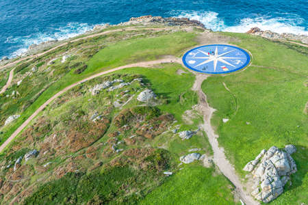 Compass rose representing the different Celtic peoples located near the Tower of Hercules in A Coruna, Galicia, Spain.