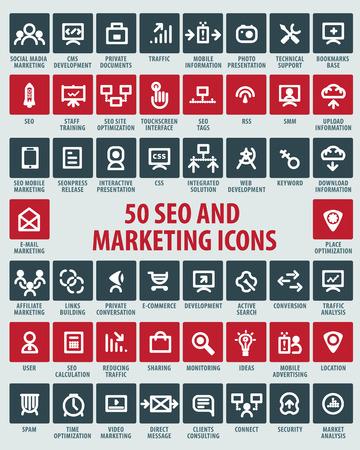 Illustration pour vector SEO and marketing icons - image libre de droit