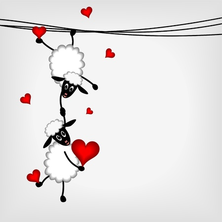 Photo for Two sheep and little lamb hanging on washing line - vector illustration - Royalty Free Image