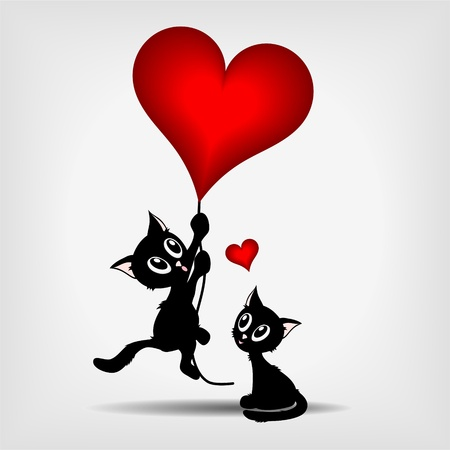 two black kittens, beautiful black kitty hanging on red heart - balloon on gray background - vector illustration