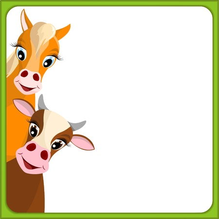 cute brown cow and horse in empty frame with green border - illustration