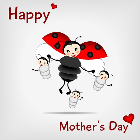 mother ladybug with three babies and text HAPPY MOTHER
