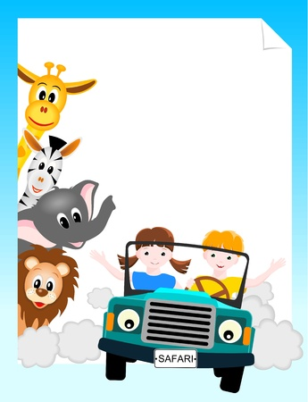 Photo for children  in safari car with lion, elephant, giraffe and zebra - vector illustration - Royalty Free Image