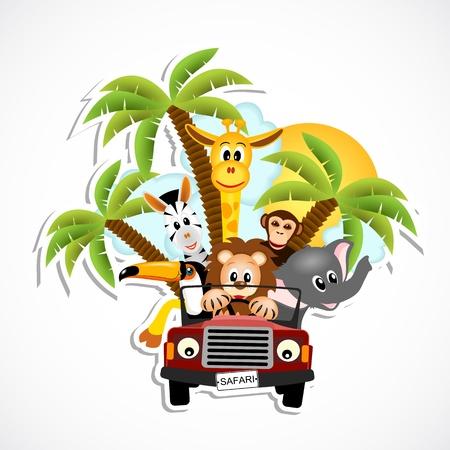 giraffe, elephant, zebra, toucan, monkey and lion driving car - vector illustration