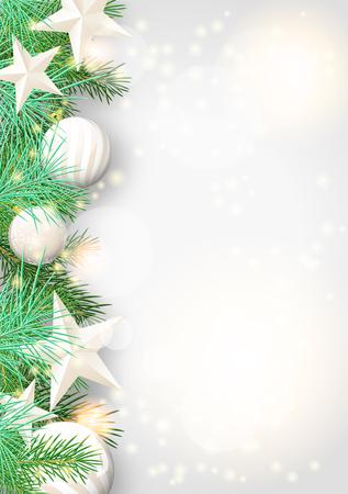 Ilustración de Christmas background with green branches and white baubles and stars, vector illustration - Imagen libre de derechos