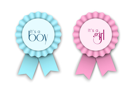 Illustration pour Two ribbon rosettes for newborn baby - image libre de droit