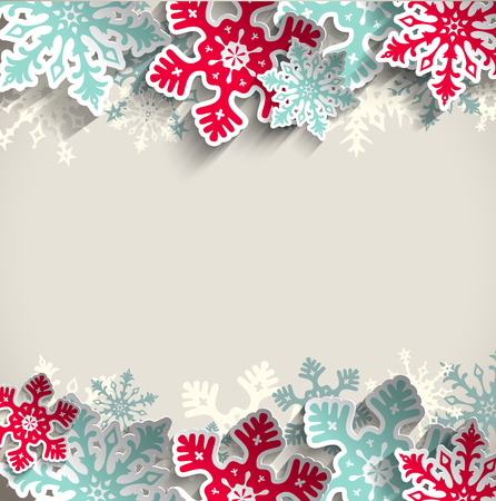 Illustration for Abstract  blue and red snowflakes on beige background with 3D effect, winter concept, vector illustration, eps 10 with transparency - Royalty Free Image