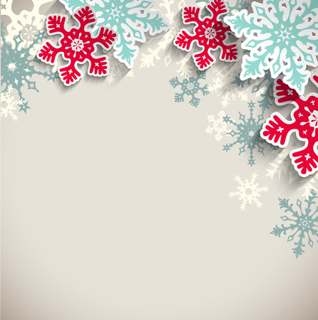 Illustration pour Abstract blue and red snowflakes  with 3d effect on beige background, winter or christmas concept, vector illustration, eps 10 with transparency - image libre de droit